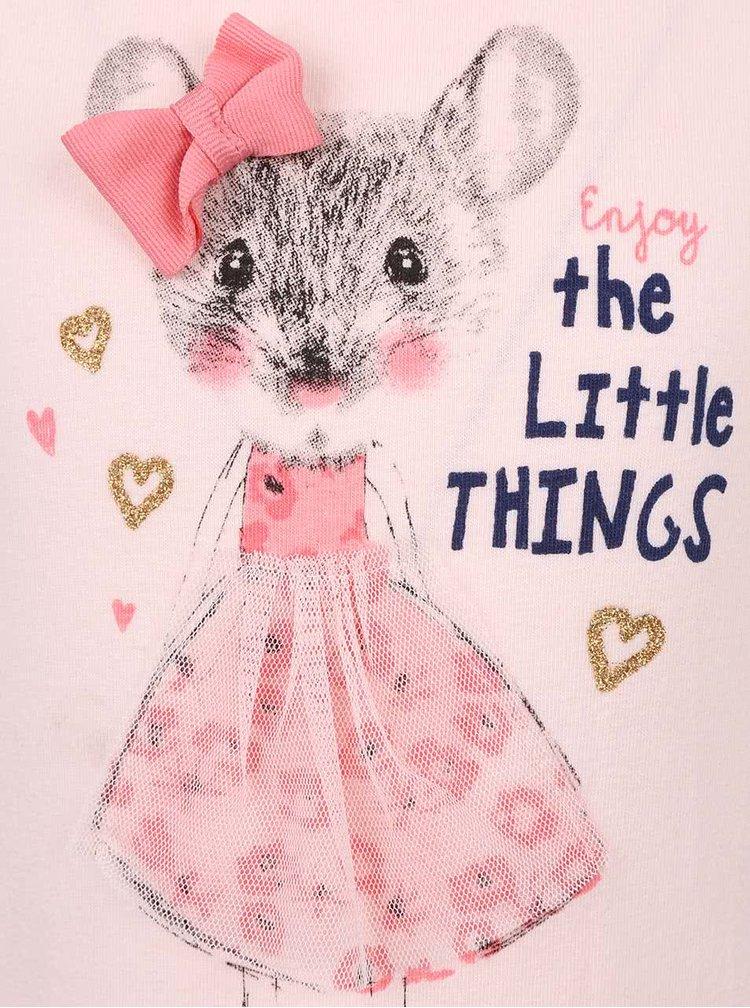 Světle růžové holčičí tričko s potiskem a dlouhým rukávem 5.10.15.