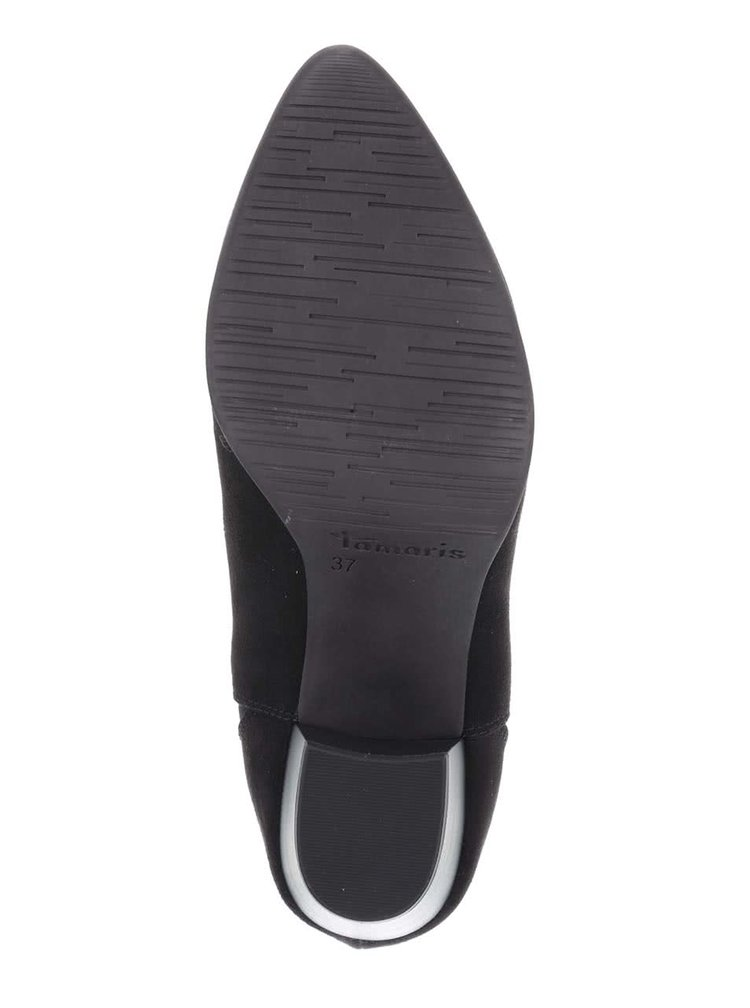 Čierne členkové topánky na podpätku v semišovej úprave Tamaris