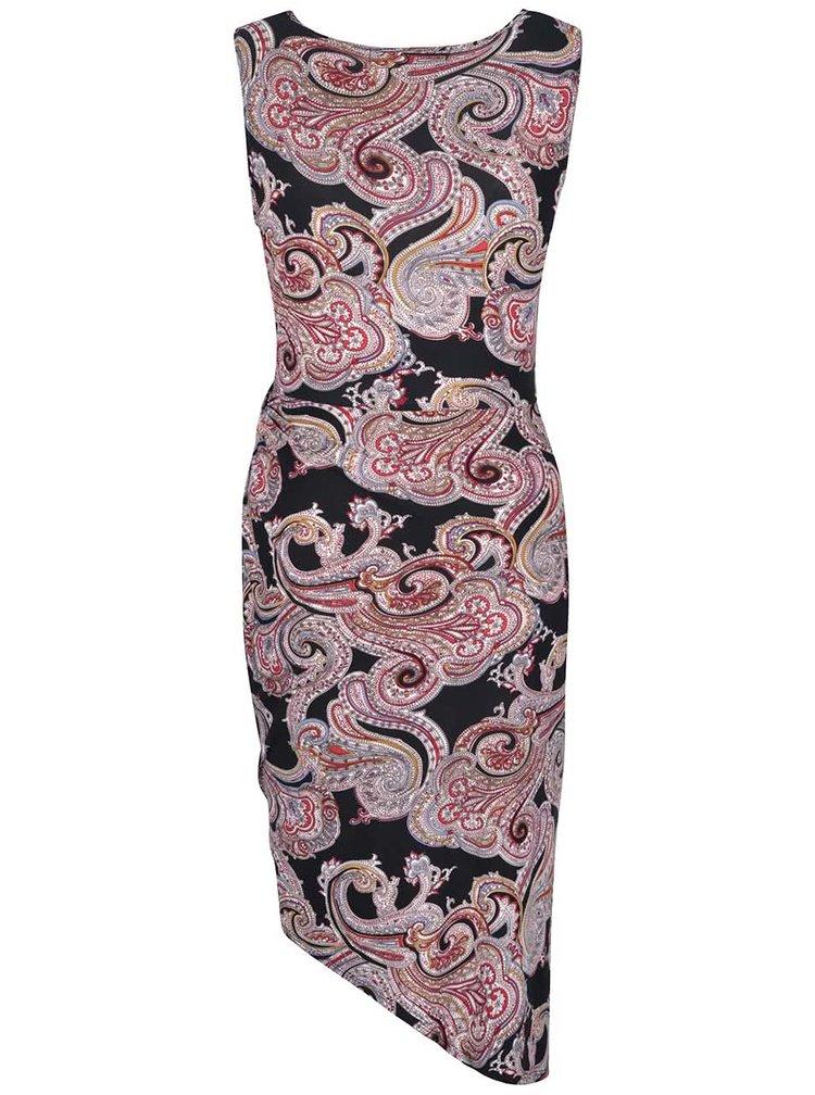 Rochie asimetrică Mela London neagră cu imprimeu