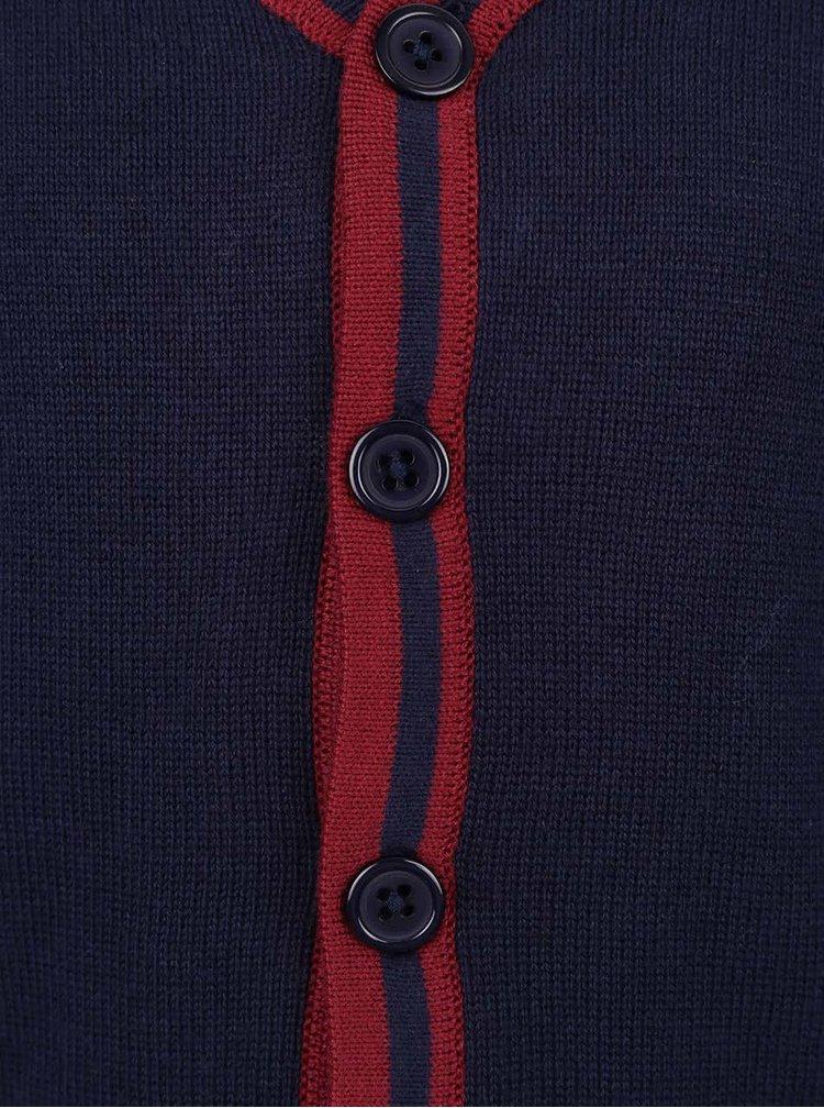 Tmavě modrý klučičí cardigan s vínovými rukávy 5.10.15.