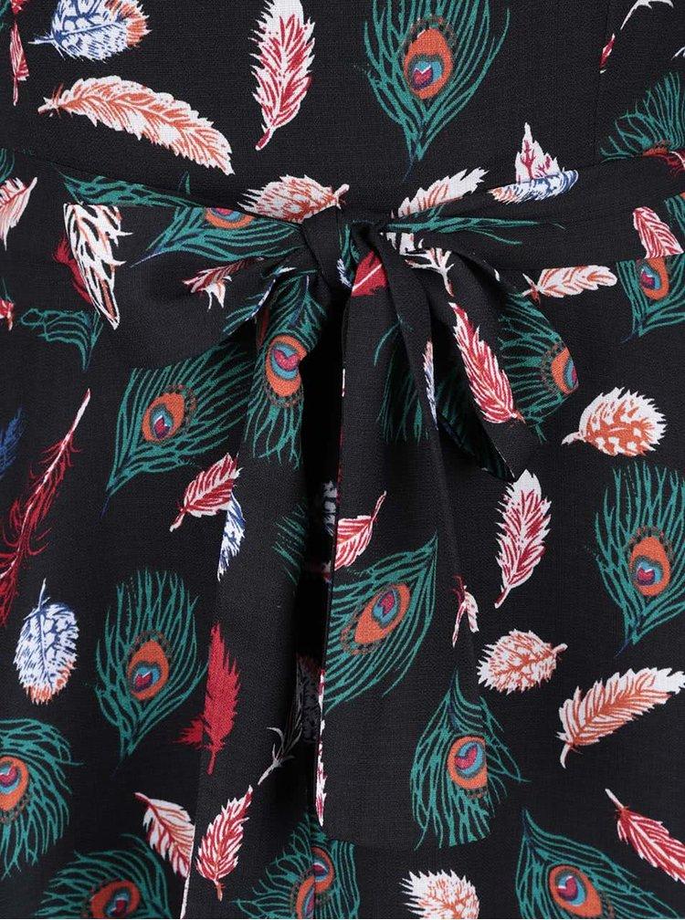 Černé šaty se vzorem ptačích pér Mela London