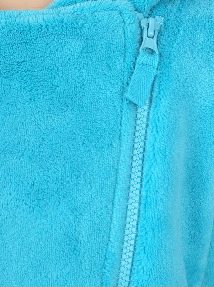 Tyrkysová plyšová holčičí mikina s asymetrickým zipem 5.10.15.