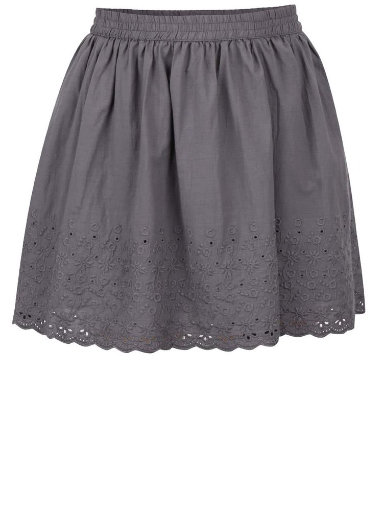 Sivá dievčenská sukňa s čipkovaným zakončením 5.10.15.