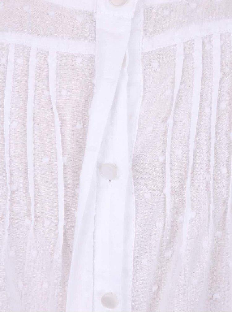 Biela dievčenská vzorovaná blúzka s dlhým rukávom 5.10.15.
