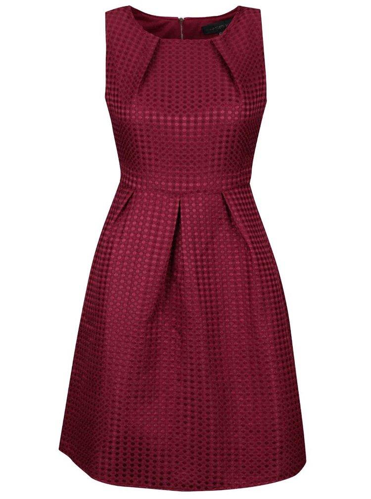 Rochie vișinie Mela London cu material texturat