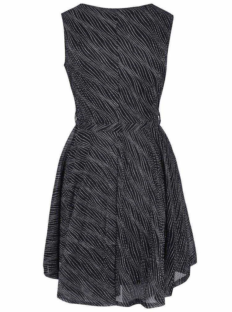 Černé šaty se stříbrným vzorováním Mela London
