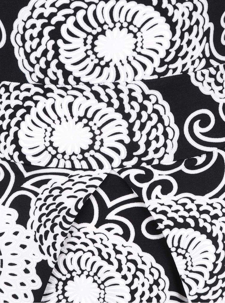 Černo-bílé vzorované šaty s kapsami  a skládanou sukní Mela London