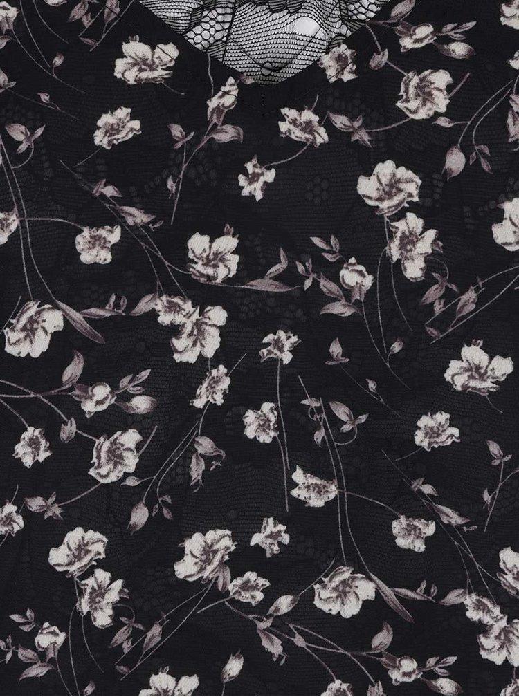 Černá delší květovaná halenka s odhalenými rameny LYDC