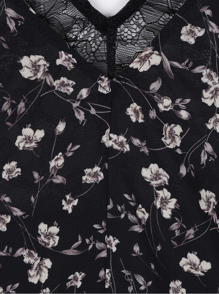 Čierna dlhšia kvetovaná blúzka s odhalenými ramenami LYDC