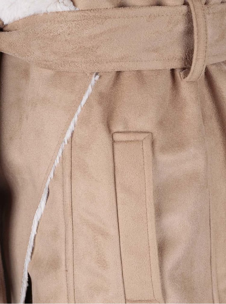 Béžová dlouhá vesta s umělým kožíškem Dorothy Perkins