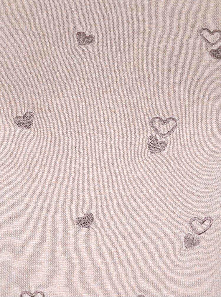 Béžovo-hnědý svetr s vyšitými srdíčky Dorothy Perkins