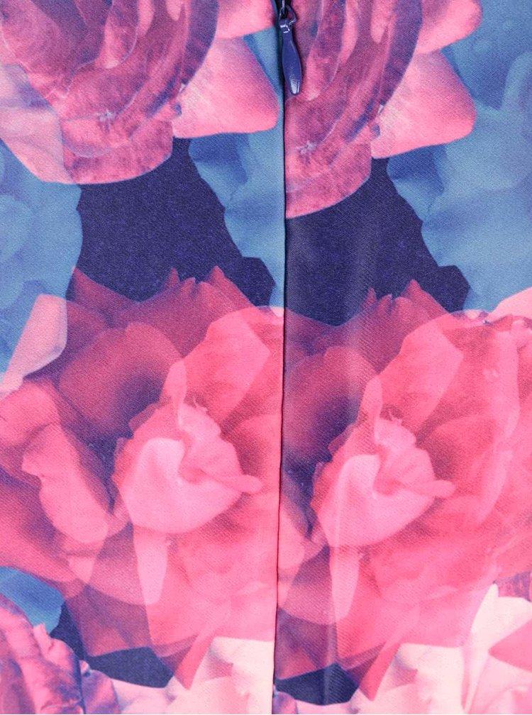 Modro-ružové kvetované šaty Wolf & Whistle