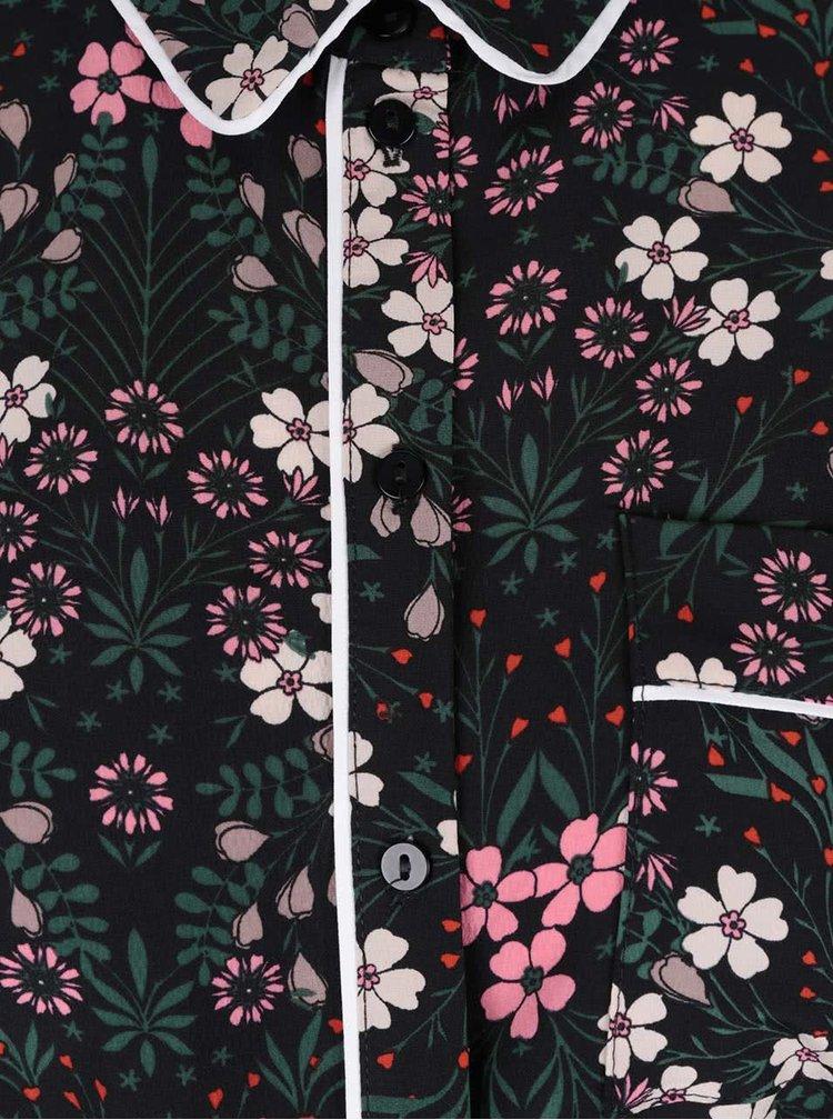 Zelené šaty s kvetinovým vzorom a golierikom Dorothy Perkins