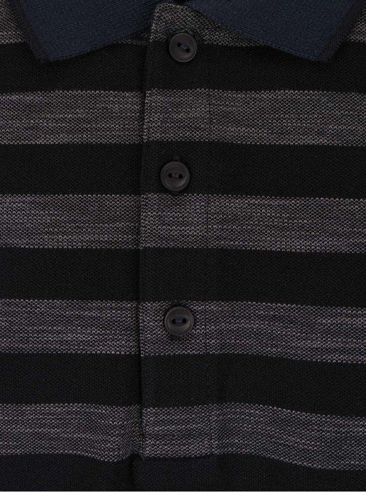 Šedo-černé pruhované polo triko s krátkým rukávem Lindbergh