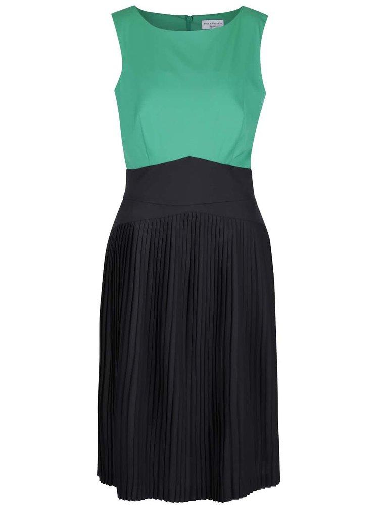 Zeleno-čierne šaty s plisovanou sukňou Wolf & Whistle