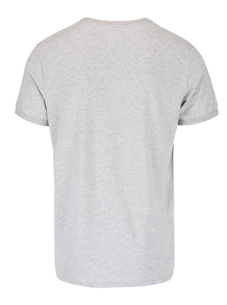Sivé melírované tričko s potlačou orla Lindbergh