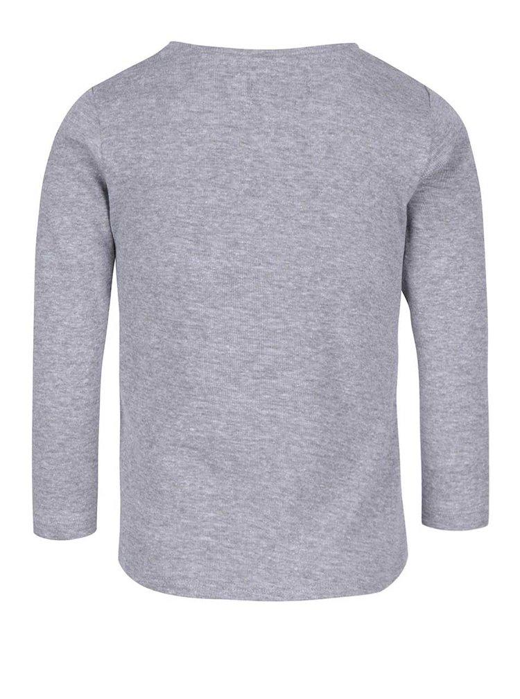 Sivé melírované dievčenské tričko s hviezdou a dlhým rukávom 5.10.15.