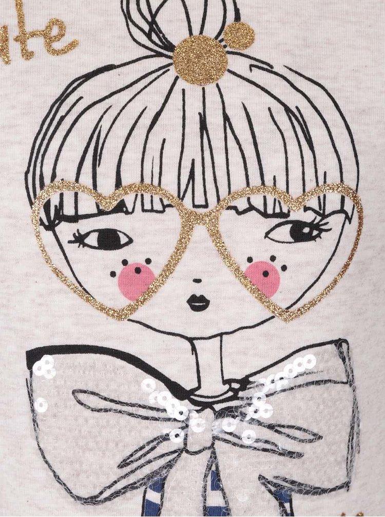 Béžové holčičí žíhané tričko s 3/4 rukávy 5.10.15.