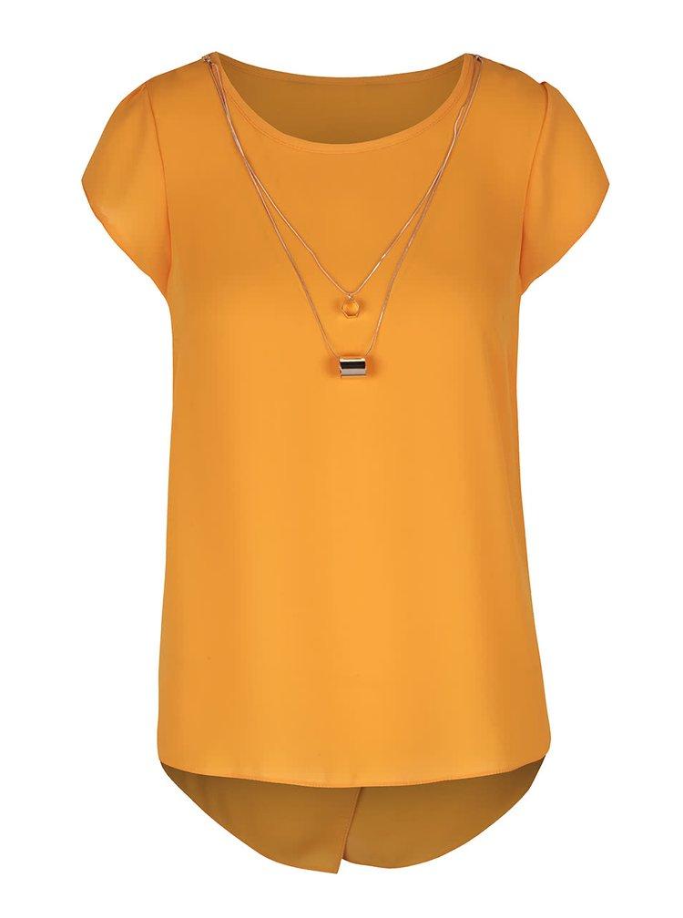 Oranžová blúzka s náhrdelníkmi v zlatej farbe Dorothy Perkins