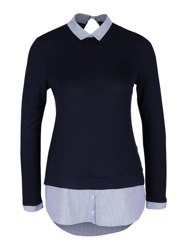 Tmavě modrý top s všitou košilí Dorothy Perkins