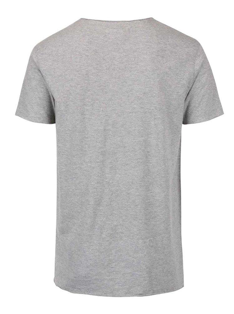 Šedé žíhané triko s potiskem Shine Original