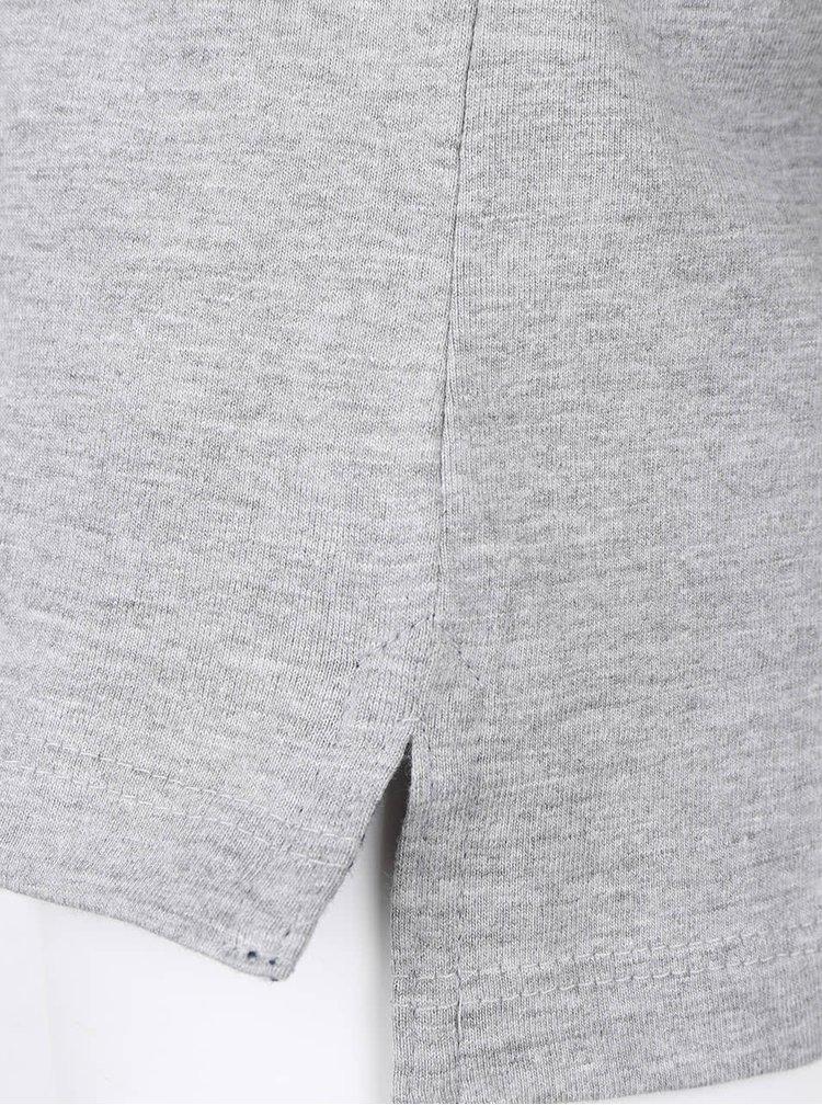 Šedé žíhané klučičí triko s límečkem a dlouhým rukávem 5.10.15.