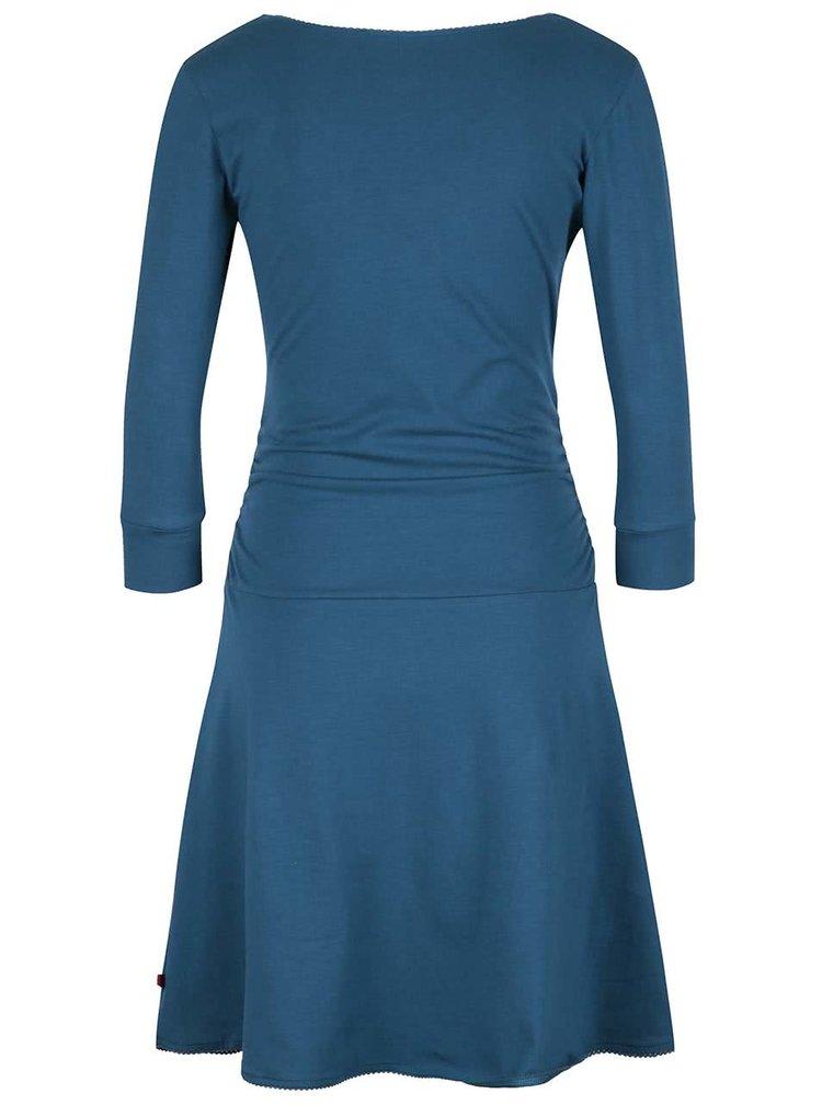 Petrolejové šaty s překládaným výstřihem Tranquillo Giulia