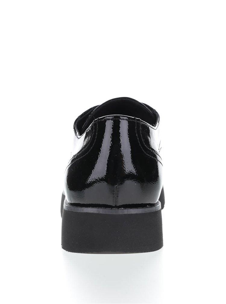 Černé dámské kožené lesklé polobotky Geox Blenda