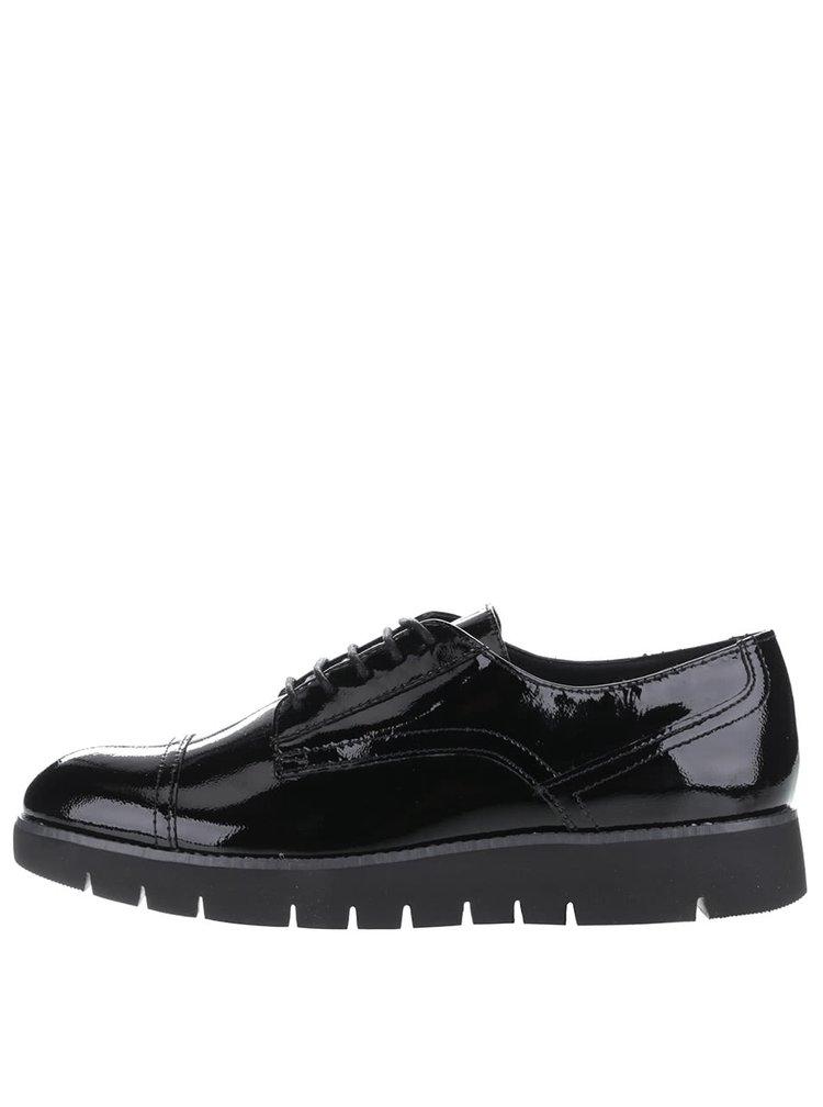 Pantofi negri Geox Blenda din piele cu aspect lacuit