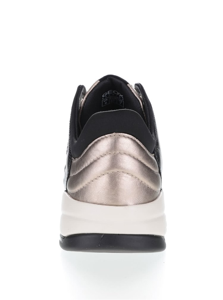 Černo-růžovozlaté dámské kožené tenisky Geox Sfinge