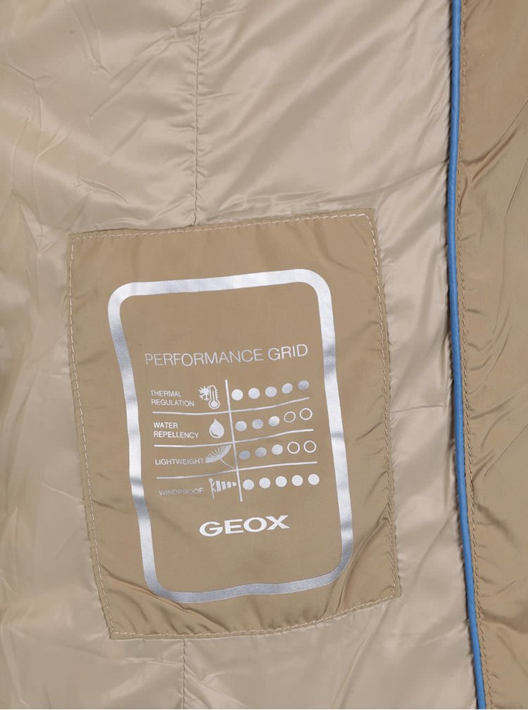 Geaca bej lunga matlasata si impermeabila Geox