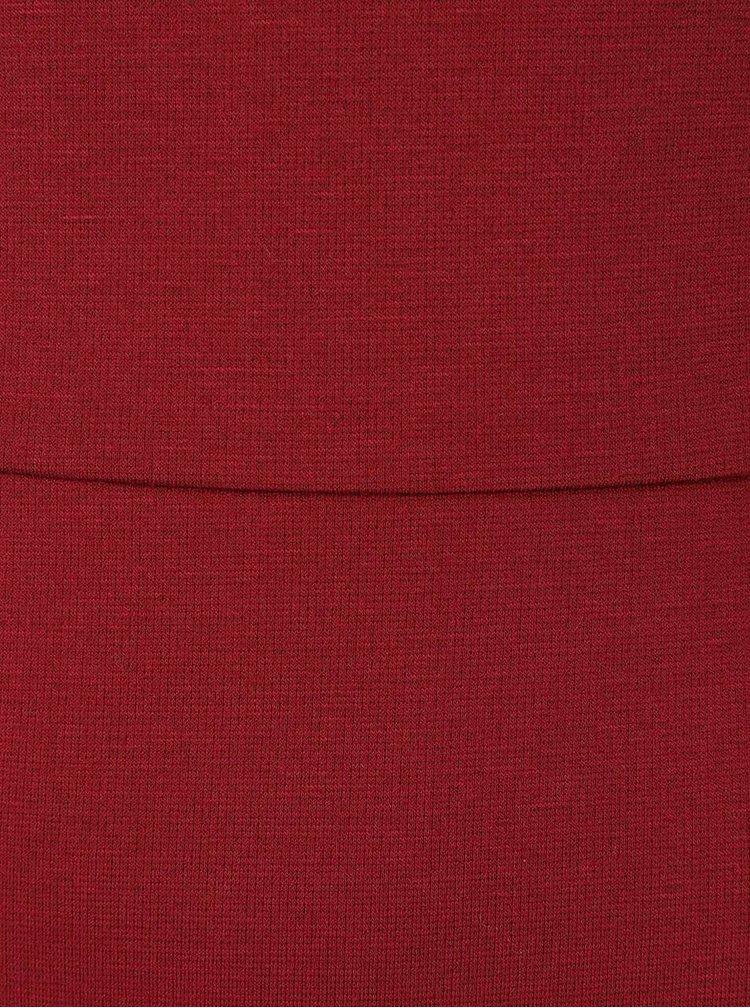 Vínové úpletové šaty s 3/4 rukávy ONLY Sandra