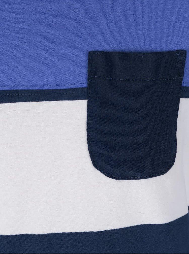 Krémovo-modré pruhované chlapčenské tričko s náprsným vreckom Tom Joule
