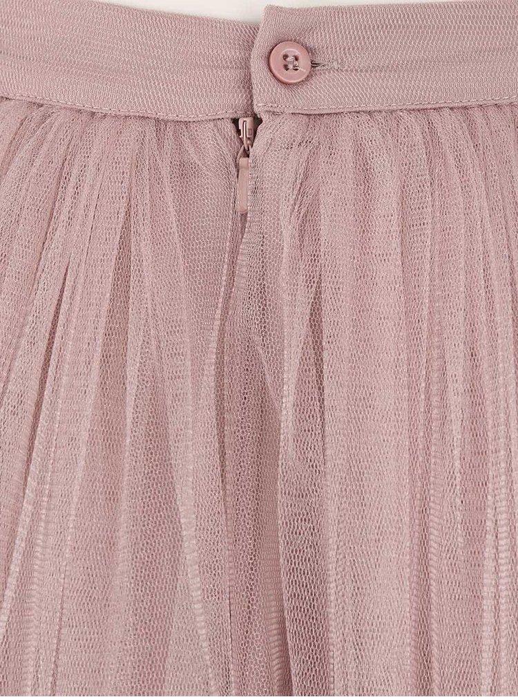 Starorůžová tylová maxi sukně Little Mistress