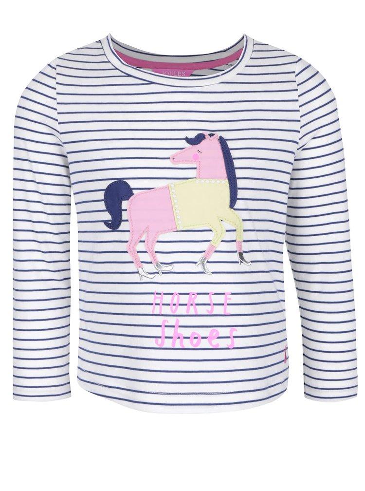 Krémové dievčenské pruhované tričko s nášivkou koňa Tom Joule Ava