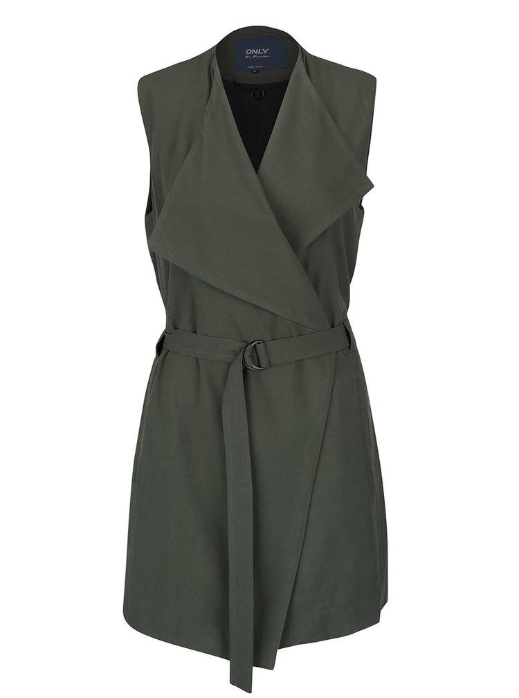 Tmavě zelená delší vesta s páskem ONLY Dakota