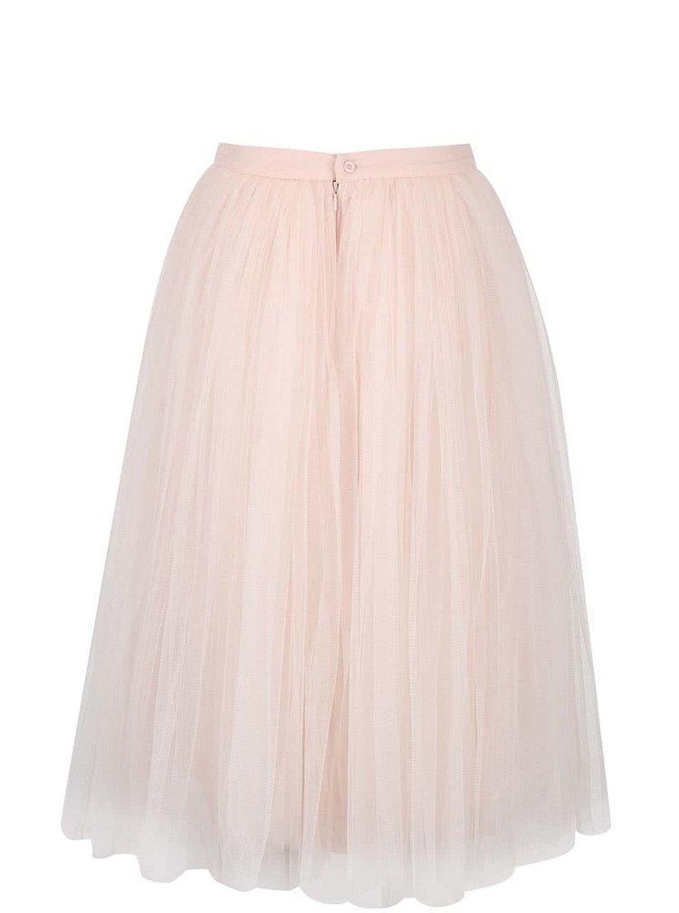 Svetloružová tylová midi sukňa Little Mistress