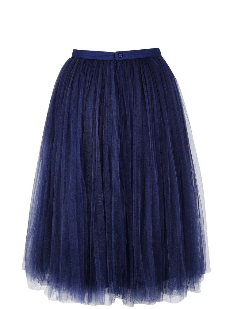Tmavě modrá tylová midi sukně Little Mistress