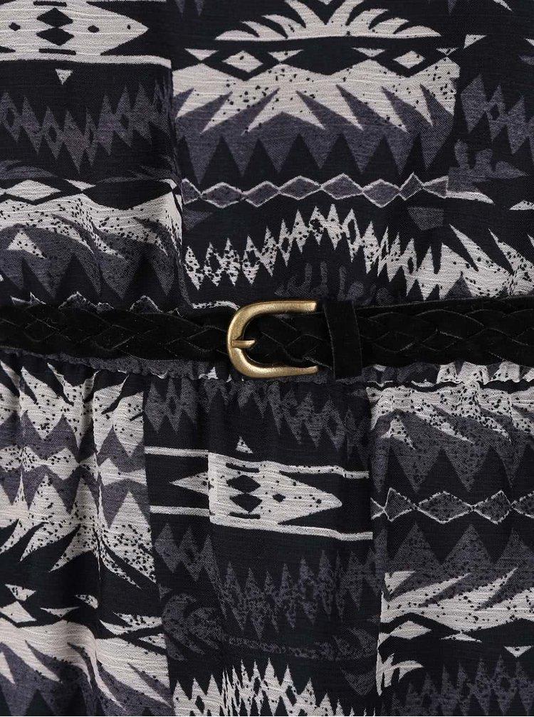 Tmavomodré vzorované šaty s opaskom ONLY Lia