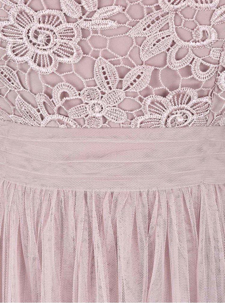 Staroružové čipkované šaty s tylovou sukňou Little Mistress