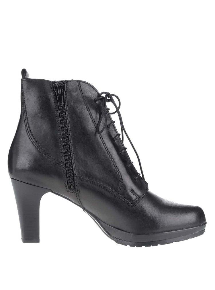 Černé kožené boty Tamaris