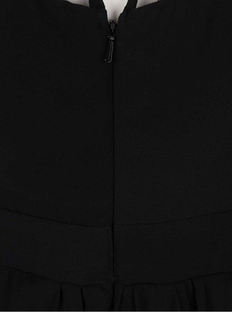 Čierne šaty s fialovo-ružovou kvetinovou výšivkou Little Mistress