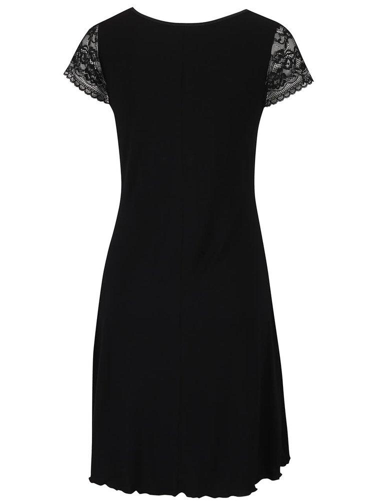 Čierna nočná košeľa s čipkou Eldar Leonia