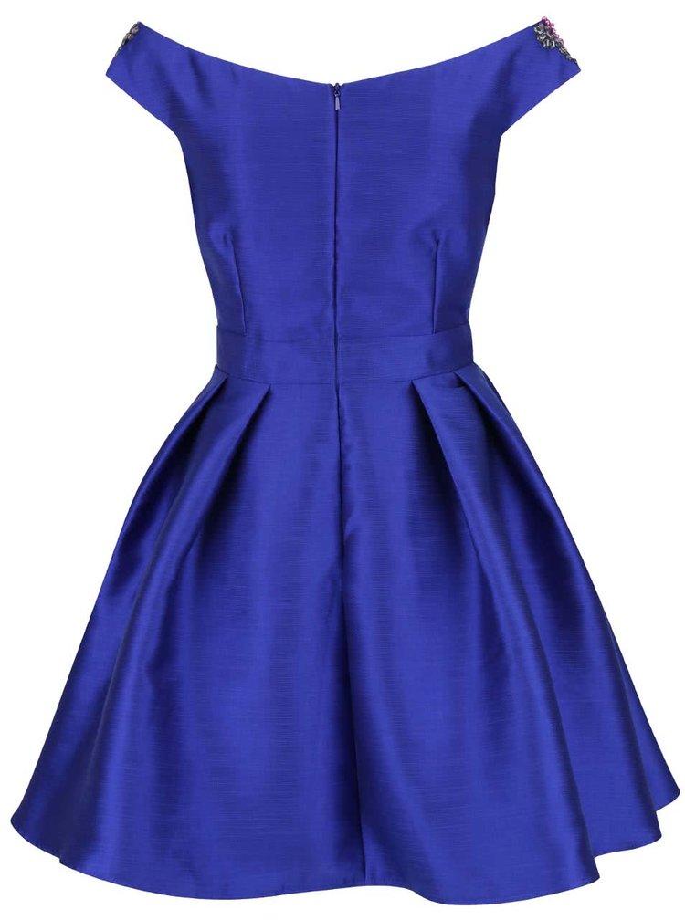 Modré lesklé šaty s barevnými kamínky na ramenou Little Mistress