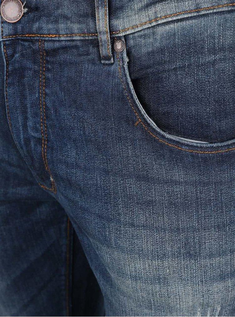 Tmavě modré slim džíny s potrhaným efektem Shine Original