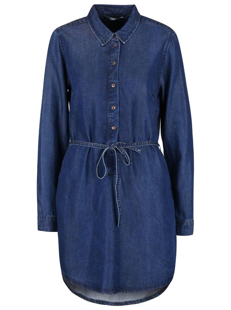 Modré denimové šaty s dlouhým rukávem ONLY Henna