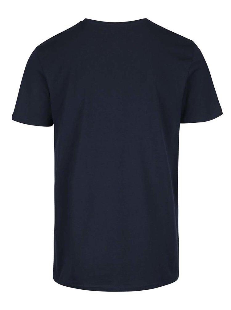 Tmavomodré tričko s potlačou Jack & Jones Kola