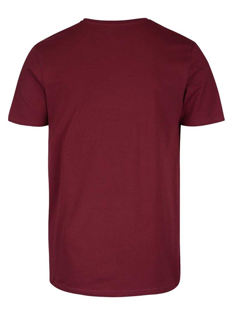 Vínové triko s potiskem Jack & Jones Kola