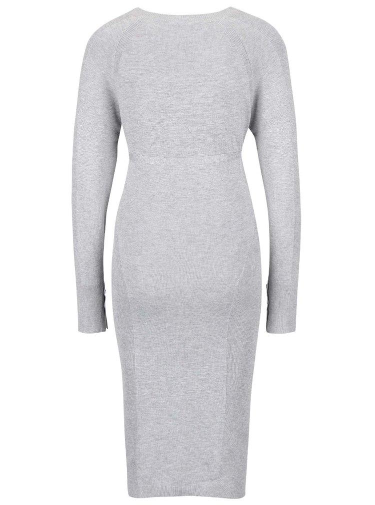 Svetlosivé melírované tehotenské svetrové šaty Mama.licious Zola