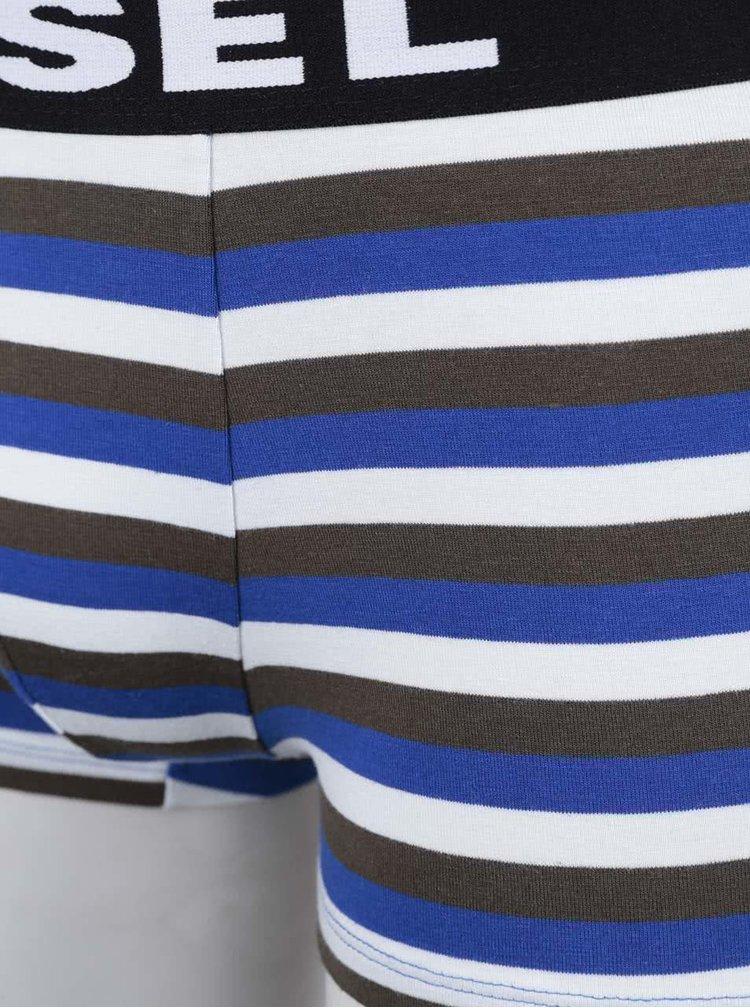 Súprava troch boxeriek v modrej, čiernej a modro-krémovej farbe Diesel